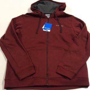🆕 COLUMBIA Mens Large Full Zip Red Sweatshirt